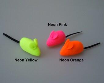 Catnip Mouse Cat Toy in Neon Fleece Colors