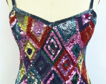 """Vintage 1980's beaded and sequence """"Night Queen"""" Dress"""