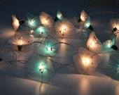 Blue & White flower string lights for Patio,Wedding,Party and Decoration (20 bulbs)