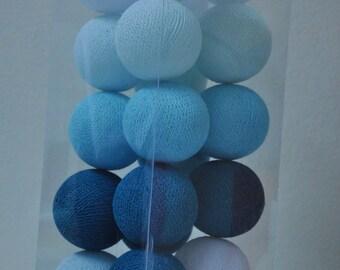 20 Sweet blue tone cotton ball string lights Assembled set