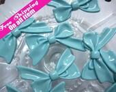 8pcs Glossy Tied Bow Cabochons Flatback // Blue