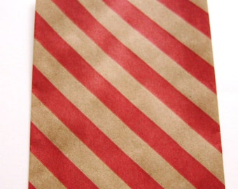 20 Red & Kraft Diagonal Stripe Mini Bitty Bags - Party Favor - Candy - Party Supplies A206