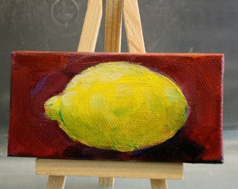 Miniature Painting - fruit lemon - Original Oil - fruit painting - fine art home decor - yellow and red - small painting - cottage chic