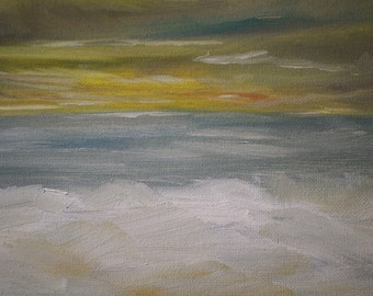 Art Painting Landscape -  Winter Seascape - Sunset Painting - Oil Painting - Abstract Oil