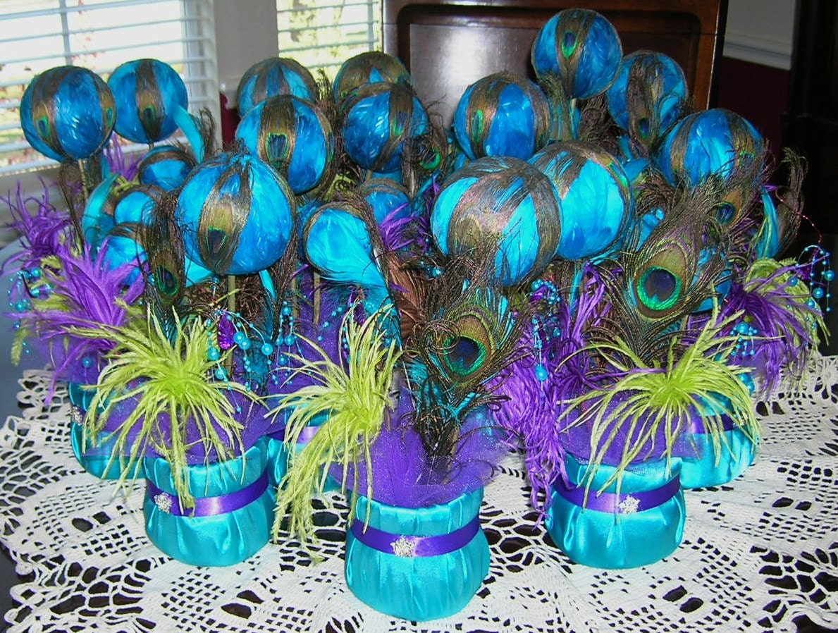 peacock wedding reception table centerpiece by sljbridal