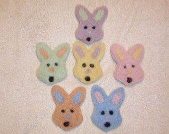 Six Felted Easter Bunny Faces