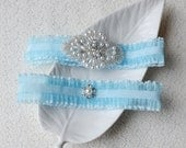 Wedding Garter Bridal Garter Set TURQUOISE BLUE Lace Garter Rhinestone Crystal Pearl Garter Beach Wedding GR119LX