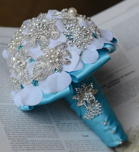 Wedding Brooch Bouquet Bridal Brooch Bouquet Pearl Crystal Rhinestone Brooch Bouquet Teal Blue Aqua Blue Something Blue BB003LX