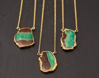 Raw Chrysoprase Pendant - Natural Chrysoprase necklace - Bezel Gold Necklace - OOAK Necklace - Layering Necklace - Electroformed Jewelry