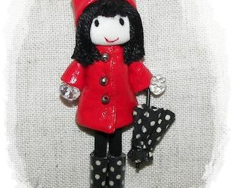 Red Raincoat Doll Handmade Pin Felt  Brooch  Boots Polka Dots  Umbrella  Miniature 3.2 in 8 cm
