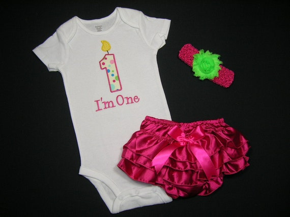 READY TO SHIP - Girls 12 mo Pop Polka Dots 1st 1 First Birthday Baby Onesie Hot Pink Satin Bloomers Headband Party Outfit