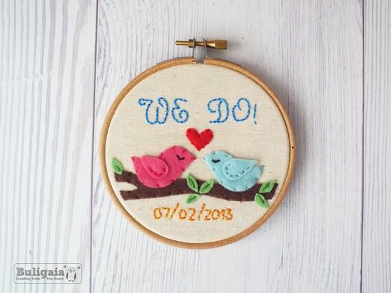 Custom wedding embroidery hoop art love birds personalized