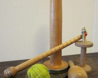 Industrial Sewing Mill Collection 2 -.Wooden Spools - 1 Wood Darning Egg - 1 Wood Bobbin