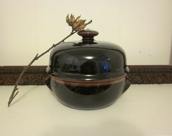 Small Dansk Brown Ceramic Casserole with Cover Japan 1970s Bean Pot serving Dish
