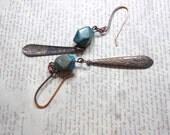 Blue Sky Jasper Nuggets Dangle Earrings, Brass Etched Dangle Drop, Patina Copper Ear Wires, Womens Jewelry
