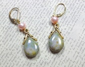 Czech Glass Antique Green Luster Teardrop Earrings, Pink Pearl, Drop Earrings, Dangle Earrings , Womens Jewelry
