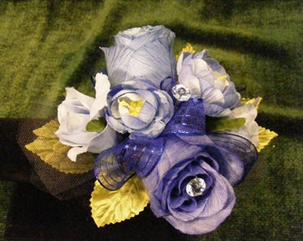 OOAK Blue Hue's Wrist Corsage Roses, Ranunculus and Gems