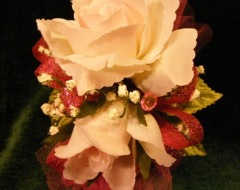 OOAK Pale Pink Double Rose Wrist Corsage, Prom, Wedding, Ball, Mother
