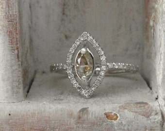 Dazzling marquise- one of a kind wedding ring-14k solid white gold- - raw rough diamond - solitaire-promise- engagement ring-RESERVED
