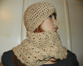 Oatmeal Scarf and Hat Set Hand Crochet