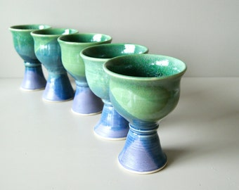 Goblet, Wine Glass, Green Blue Lavender, Chalice, Goblet, Wine Glass, MADE TO ORDER