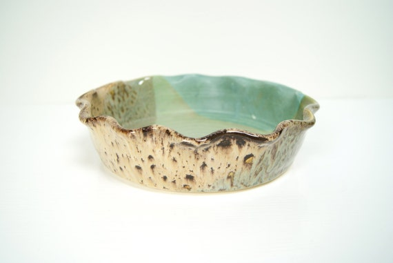 """9"""" Deep Dish Pie Plate / Handmade Pottery / Blue Green Caramel Cream"""