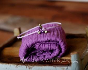 Purple Newborn Cheesecloth, Purple Baby Wrap Set, Newborn Photo Prop, Newborn Headband, Purple Cheesecloth, Newborn Girl Photo Props