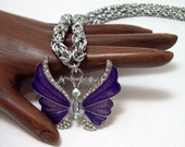 Butterfly, necklace, chainmaille, jewelry, spring, purple