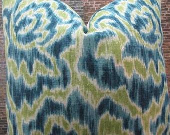 Designer Pillow Cover - 18  x 18 - Jakie Aqua Green