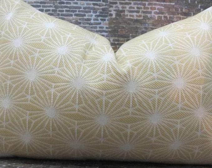 Designer Pillow Cover 10 x 20, 12 x 16, 12 x 18 - Starburst Jacquard Yellow
