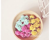 Mulberry Rose Buds paper flower mixed color for scrapbook, card making, wedding, party decoration/ pack