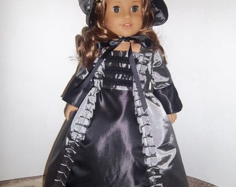 "Black/Silver Satin Colonial Doll dress 18"" doll"