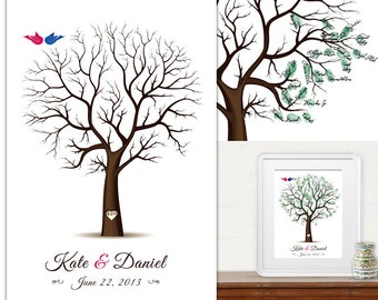 Large 50x70 cm  - Wedding Tree Guest Book - Fingerprint -  Thumb Tree - poster & 3 ink pads - 120 guests