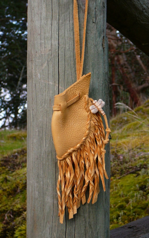Deerskin Dragonfly Medicine Bag by Pluct with Dragonfly Bead, Amulet Bag