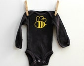 Hand Dyed Baby Onesie Charcoal with Yellow Bumblebee - Newborn