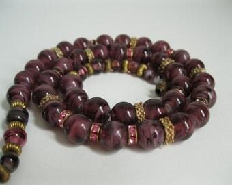 Vintage 1930s Italian Glass Necklace Purple Murano Pink Rhinestone Wedding Fashions
