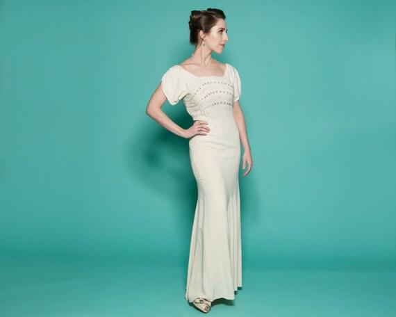 1930s Wedding Gowns: Vintage 1930s Wedding Dress Beaded Bias Cut Gown Bridal