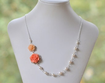 Dainty Coral and Peach Rose Asymmetrical Bridesmaid Necklace with White Swarovski Pearls. Coral Bridal Party Jewelry.