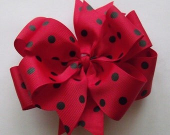 Hair Bow Red and Black Polka Dot  Double Layered Boutique Bow