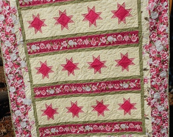 Quilt Pattern: Cuddle Me In The Garden Quilt Pattern by Little Louise Designs Throw or Queen