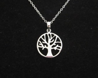 Celtic TREE of LIFE sterling silver pendant with necklace chain, organic, nature, woodland jewelry