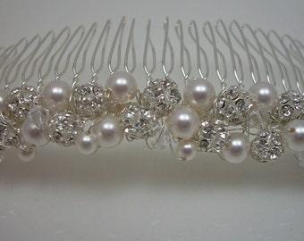 Custom Designed Hair Comb Swarovski Pearl Crystal