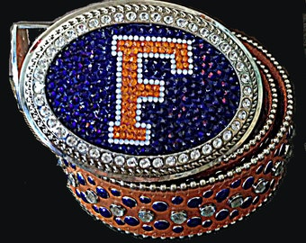 "University of Florida Logo Belt  Buckle-  Swarovski Crystal ""F"" Logo Buckle"