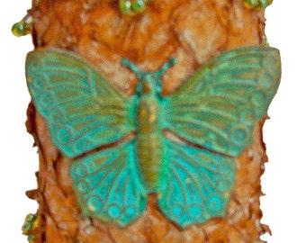 Light Brown Tan Suede Fish Leather  Cuff Bracelet - Patina Anitque Brass Butterfly -Antique Brass Patina Button Closure - Cuff Bracelet