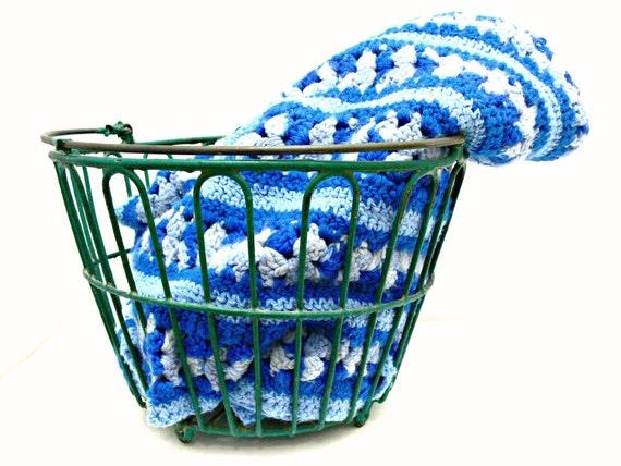 Blue Crocheted Afghan - Vintage Lap Blanket