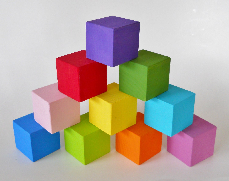 Colored Wood Blocks ~ Building blocks nursery decor colorful set of poplar