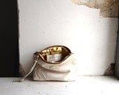 Leather Money Purse in Tan or White.  Boho Style with Creased Finish. Made to Order