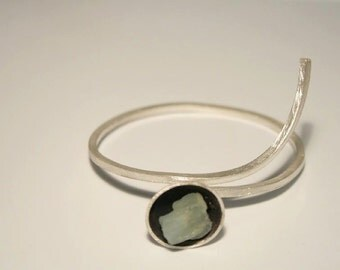 "Silver bracelet with aquamarine ""A bit of sea in a bowl..:"""