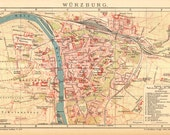 1905 Antique Dated City Map of Würzburg in Bavaria, Germany