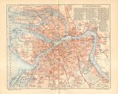 1907 Antique Dated City Map of Saint Petersburg, Russian Empire